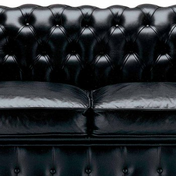 2 Seater Sofa Covered in Leather with Wooden Feet Made in Italy - Idra