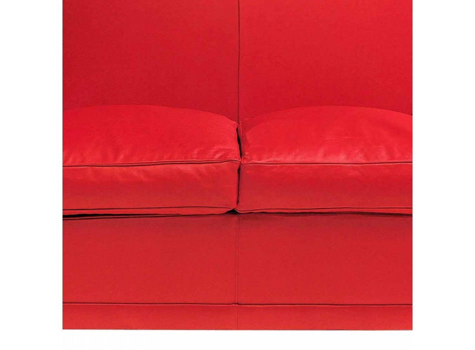 2 Seater Sofa Covered in Leather with Lacquered Feet Made in Italy - Pegolo