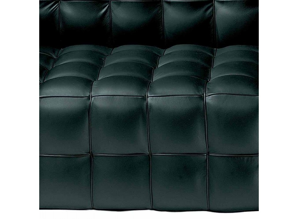 2 Seater Sofa Upholstered in Quilted Effect Leather Made in Italy - Vesuvio
