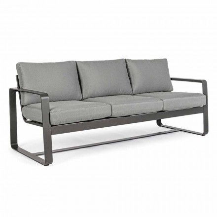 3 Seater Outdoor Sofa with Back Cushions and Seat in Fabric - Mirea
