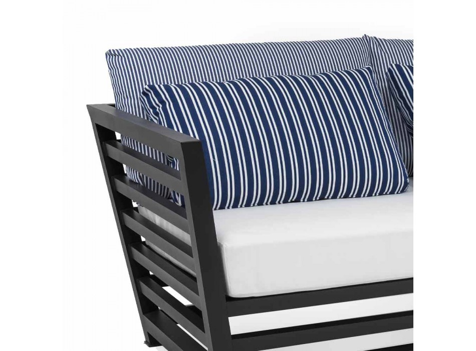 3 Seater Outdoor Sofa in White or Black Aluminum and Blue Cushions - Cynthia