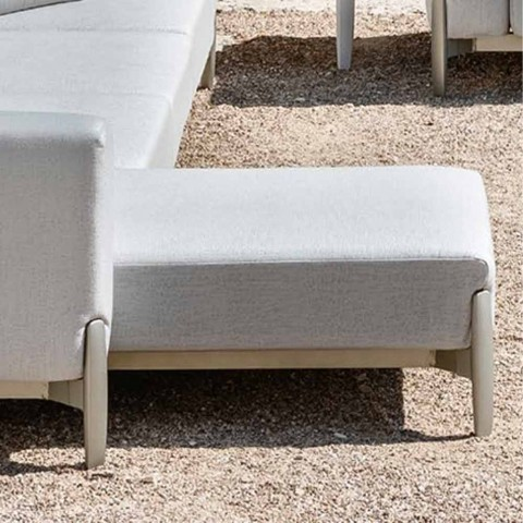 3 Seater Outdoor Sofa in Aluminum with Extension and Chaise Longue - Filomena
