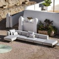 3 Seater Outdoor Sofa in Aluminum with Pouf and Chaise Longue - Filomena