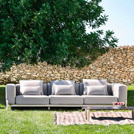 3 Seater Outdoor Sofa in Aluminum and High Quality Fabric - Filomena