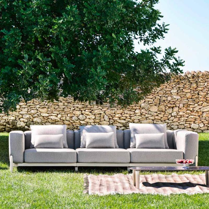 3 Seater Outdoor Sofa in Design Aluminum and Fabric in 3 Finishes - Filomena