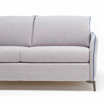 3-seater design sofa L.185cm fabric / eco-leather made in Italy Erica