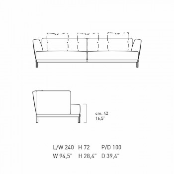 3 Seater Gray Upholstered Sofa with Modern Design Made in Italy - Larsen