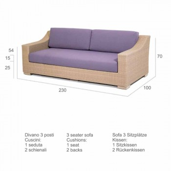 3 seater sofa Outdoor polyethylene and Joe Tempotest