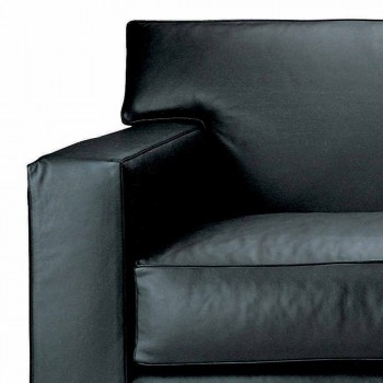 3 Seater Sofa Covered in Leather with Walnut Feet Made in Italy - Alessandria