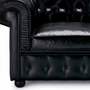 3 Seater Sofa Upholstered in Leather with Lacquered Feet Made in Italy - Idra