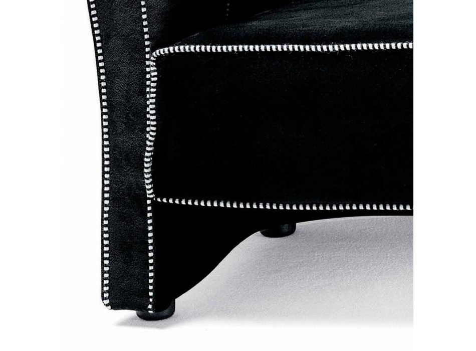 3 Seater Sofa Upholstered in Velvet with White Stitching Made in Italy - Caster