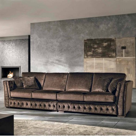 Italian 4 seater fabric sofa Teseo, classic design