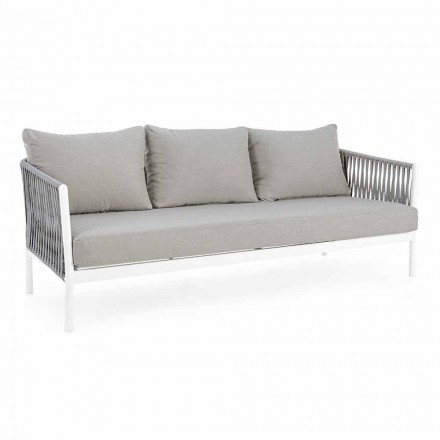 Homemotion - Rubio 3-Seater Outdoor Design Sofa in White and Gray
