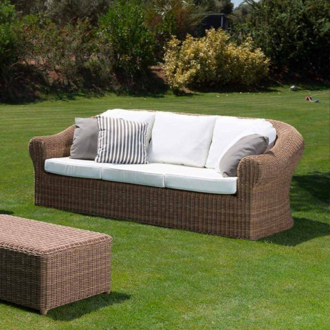 3 Seater Outdoor Sofa in Synthetic Rattan and White or Ecru Fabric - Yves