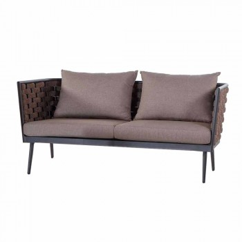 3 Seater Garden Sofa in Aluminum and Rope with Fabric Cushions - Rasti