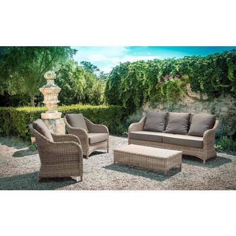 3 Seater Garden Sofa in Braided Fiber Design Homemotion - Casimiro