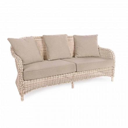 3 Seater Garden Sofa in Woven Fiber of Homemotion Design - Casimiro