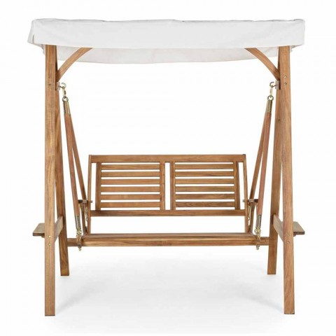 2 Seater Rocking Garden Sofa in Acacia Wood with White Canvas - Roxen