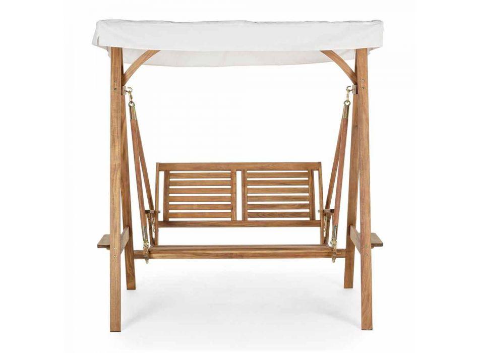 2 Seater Rocking Garden Sofa in Acacia Wood with White Canvas - Roxen