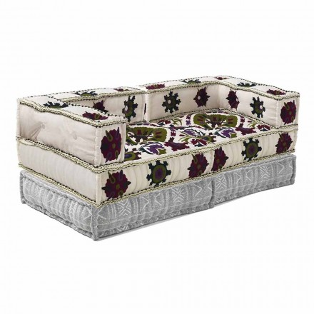 Ethnic Design Two-Seater Sofa in Patchwork Fabric - Fiber