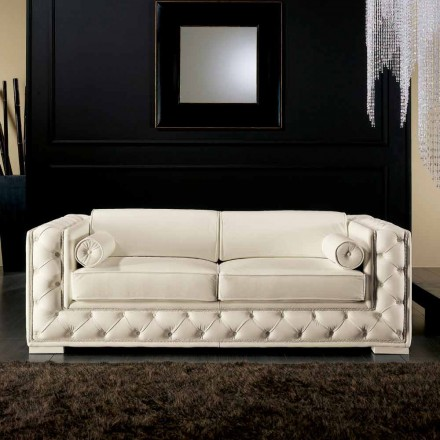 Italian 2 seater white leather sofa, classic design, Prestige