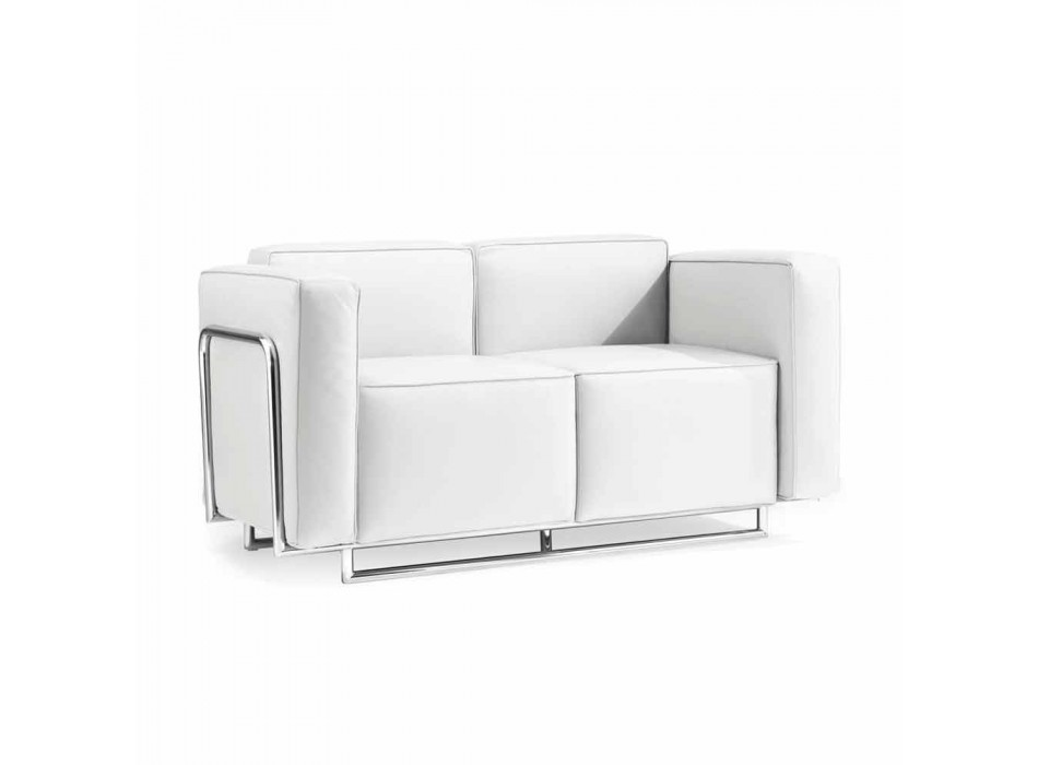 Modern two-seater sofa in white eco-leather and Bugola chrome parts