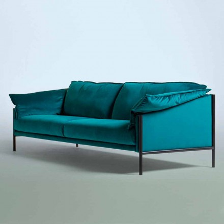 Modern Design Three Seater Sofa in Red or Petrol Velvet - Weekend