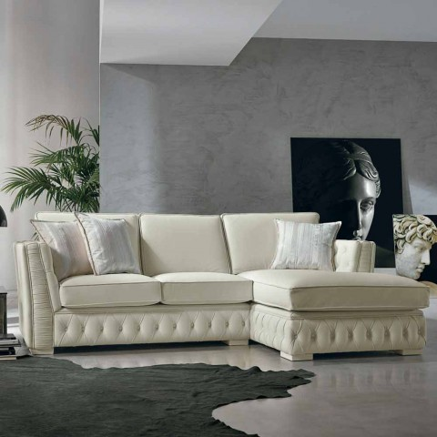 Italian white leather corner sofa, classi design, Teseo