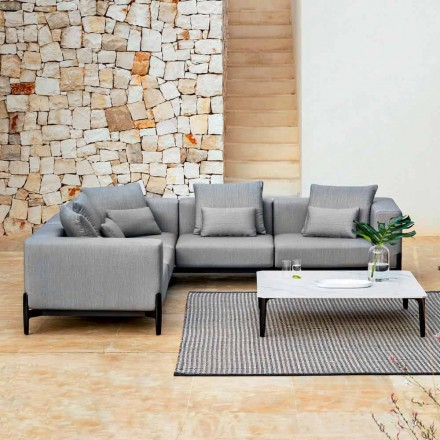 5 Seater Outdoor Corner Sofa in Aluminum 3 Finishes, Luxury - Filomena