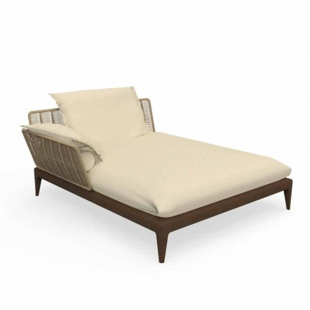 Outdoor Chaise Longue Sofa in Teak and Fabric - Cruise Teak by Talenti