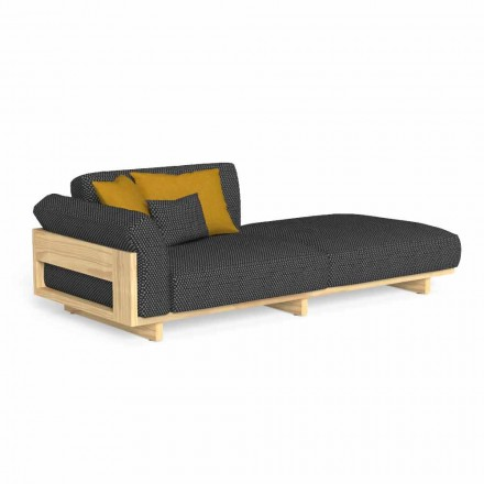 Outdoor Chaise Longue Upholstered in High Quality Wood - Argo by Talenti