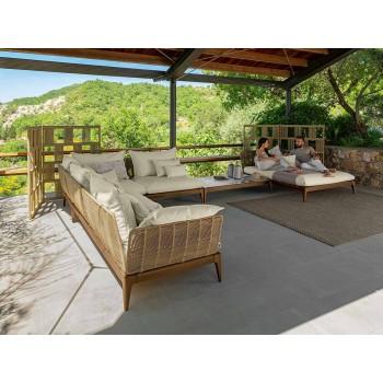 Garden Chaise Longue Sofa in Teak and Fabric - Cruise Teak by Talenti