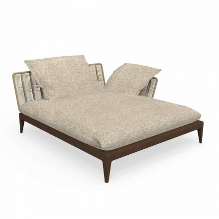 Garden Chaise Longue Sofa in Teak and Fabric - Cruise Teak by Talenti