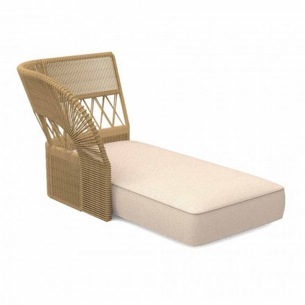 Garden Chaise Longue Sofa in Fabric and Rope - Cliff Decò by Talenti