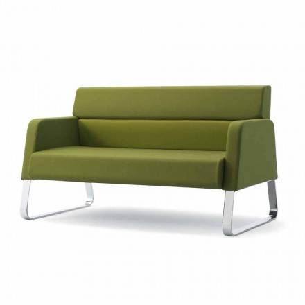 High quality leather office sofa Ennio, with sprucewood frame