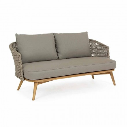 Outdoor Sofa 2 or 3 Seats in Wood and Dove-Gray Homemotion Fabric - Luana