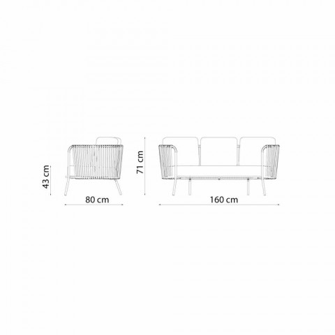 2 Seater Outdoor Sofa in Metal, Fabric and Rope Made in Italy - Mari
