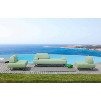 2 Seater Outdoor Sofa in Fabric and Metal Made in Italy Design - Selia
