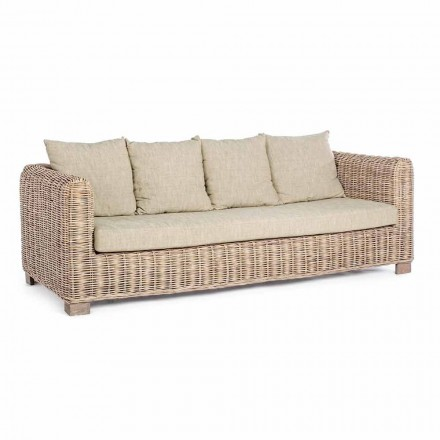 Homemotion - Ceara 3 Seater Design Outdoor Sofa in Wood and Rattan
