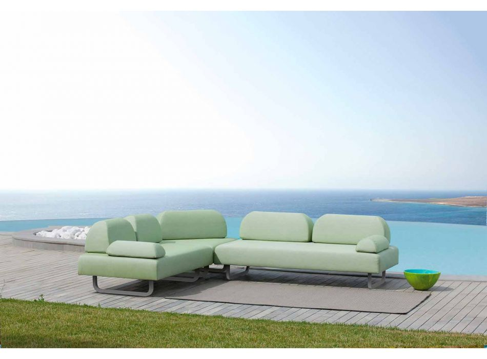 3 Seater Design Sofa in Metal and Fabric Made in Italy - Selia
