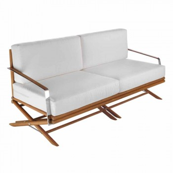 3 Seater Outdoor Sofa in Natural Wood or Black and Luxury Fabric - Suzana