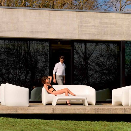 Modern outdoor sofa made with polyethylene resin, Blow by Vondom