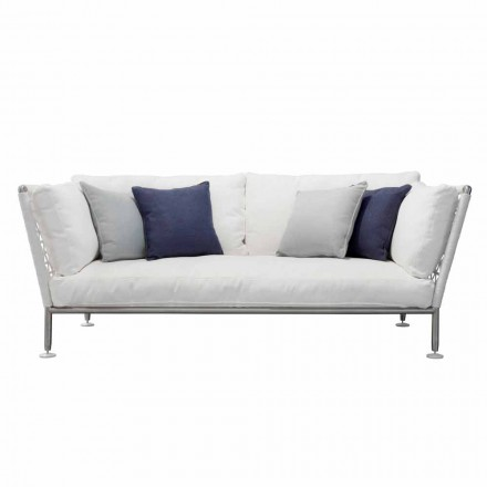 Outdoor Sofa in Steel and Woven PVC Fabric Cushions - Ontario6