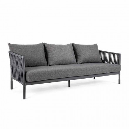 Outdoor Sofa Aluminum and Rope with Fabric Cushions, Homemotion - Shama