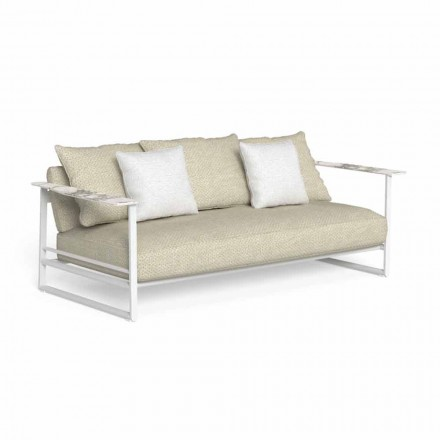 Outdoor Sofa in Aluminum, Fabric and Armrests in Gres - Riviera by Talenti