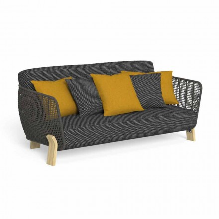 Outdoor Sofa in Fabric and High Quality Upholstered Rope - Argo by Talenti