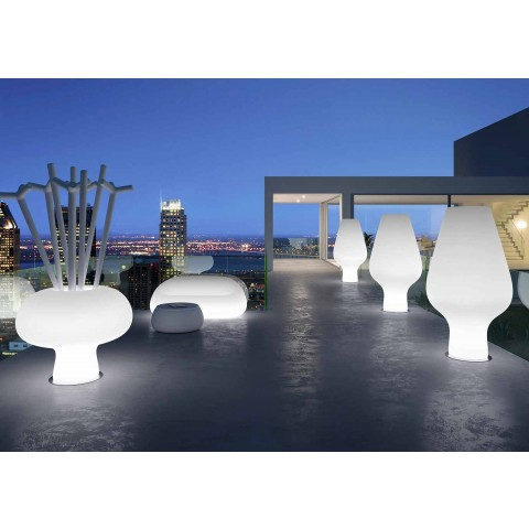 Bright Outdoor Sofa with LED Light in Polyethylene Made in Italy - Ervin