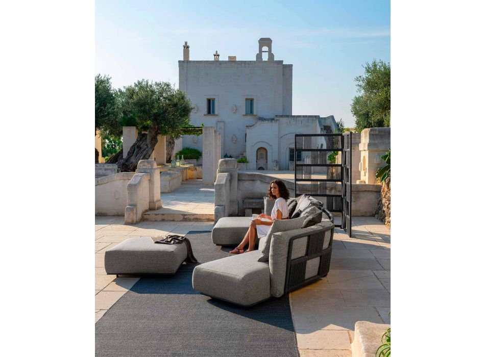 Central Modular Outdoor Sofa in Fabric and Aluminum - Scacco by Talenti