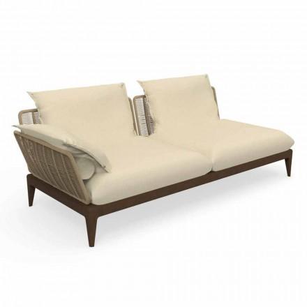 Modular Right Outdoor Sofa in Teak and Fabric - Cruise Teak by Talenti