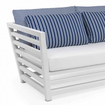 2 Seater Garden Sofa in White or Black Aluminum and Blue Cushions - Cynthia